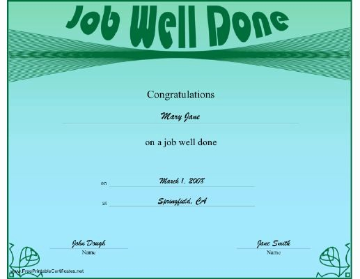 Congratulations You Did It Certificate New A Green and Blue Certificate Offering Congratulations for