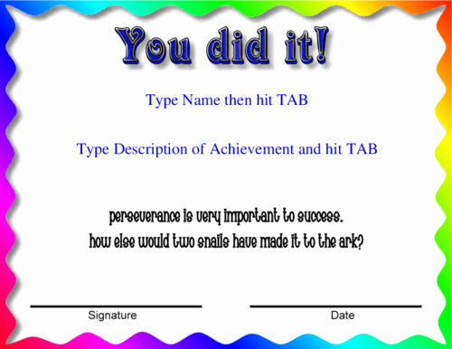 Congratulations You Did It Certificate New Award Certificate Templates