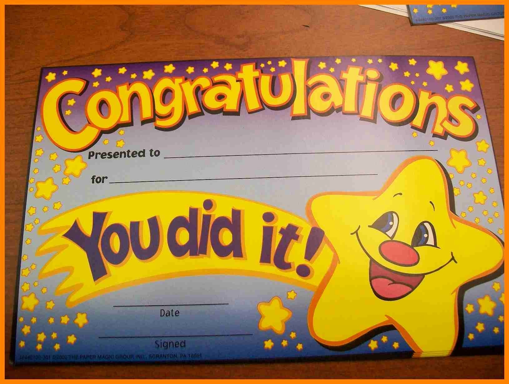 Congratulations You Did It Certificate New Congratulations You Have Won Certificate Template