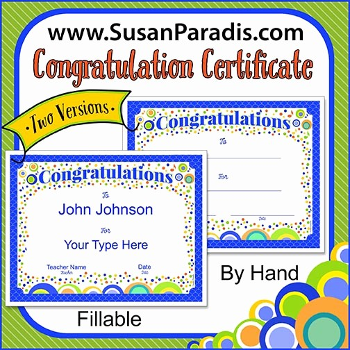 Congratulations You Did It Certificate Unique Music Certificates Fillable and Blank Versions Susan