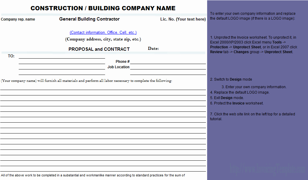Construction Bid Proposal Template Excel Awesome Best S Of Contractors Proposal Template Free