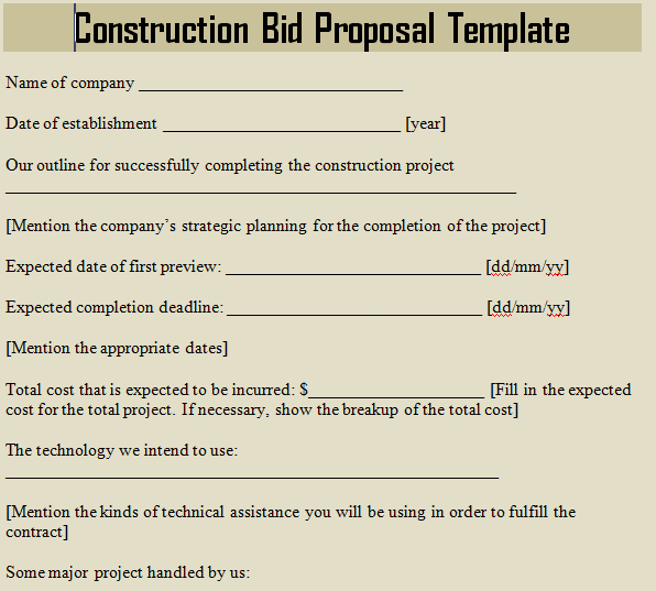 Construction Bid Proposal Template Excel Awesome Construction Bid Proposal Template