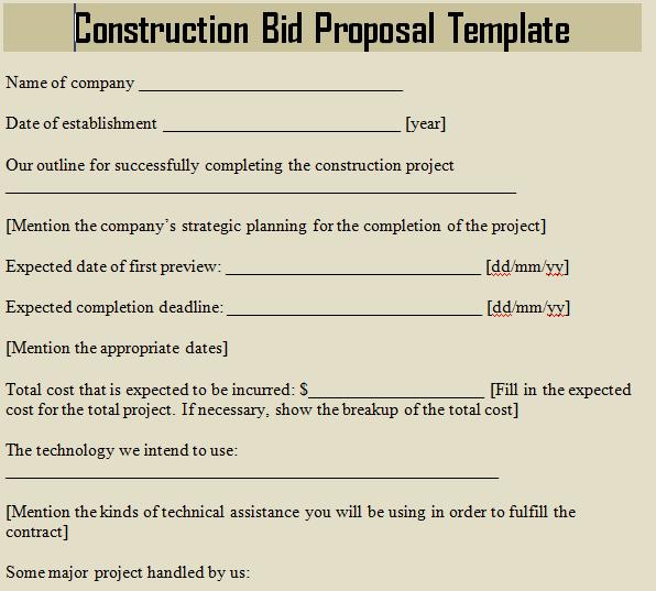 Construction Bid Proposal Template Excel Awesome Construction Bid Proposal Template