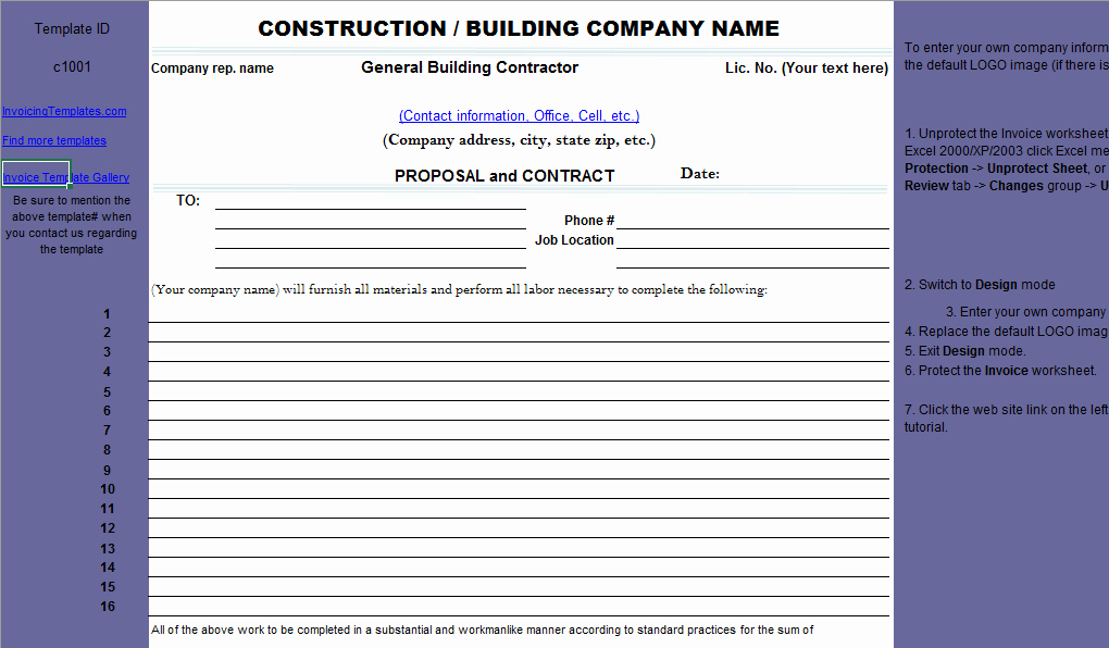 Construction Bid Proposal Template Excel Elegant Construction Proposal Template