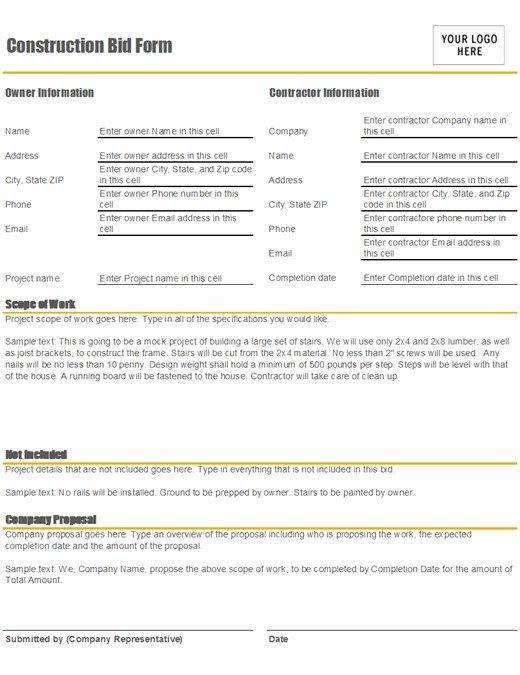 Construction Bid Proposal Template Excel Fresh Construction Bid form