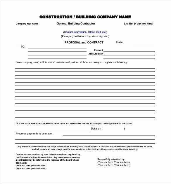 Construction Bid Proposal Template Excel Inspirational Job Estimate Templates and Work Quotes Construction Bid