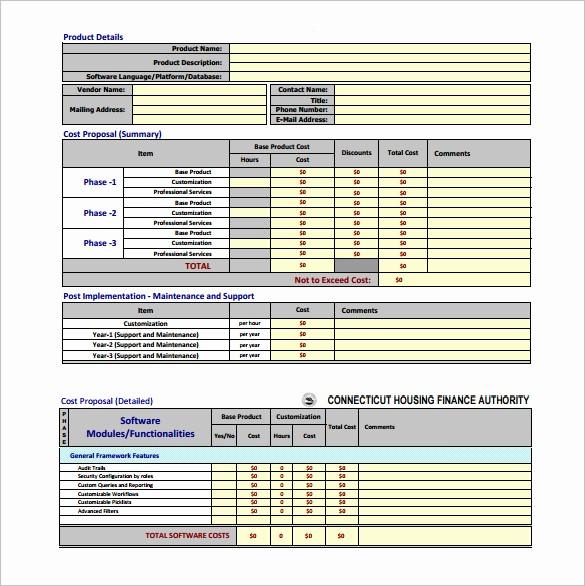 Construction Bid Proposal Template Excel Lovely Cost Proposal Template 14 Free Word Excel Pdf format