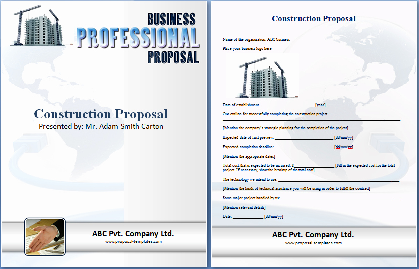 Construction Bid Proposal Template Excel Luxury formal Construction Proposal Template