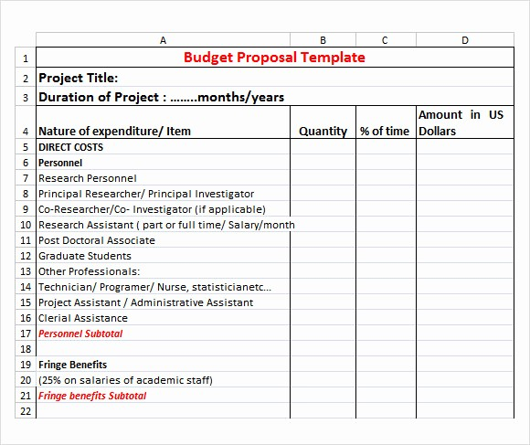 Construction Bid Proposal Template Excel New 17 Sample Bud Proposal Templates to Download