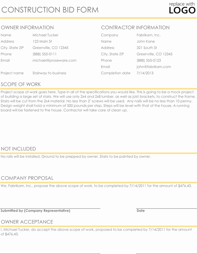 Construction Bid Proposal Template Excel New Construction Proposal & Quote Templates Download In