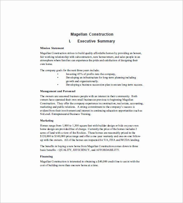 Construction Business Plan Template Word Best Of Construction Business Plan Template 12 Free Word Excel