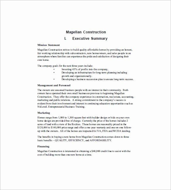 Construction Business Plan Template Word Best Of Construction Business Plan Template 12 Free Word Excel