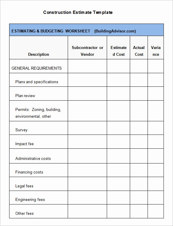 Construction Business Plan Template Word Inspirational 6 Contractor Estimate Templates Pdf Doc