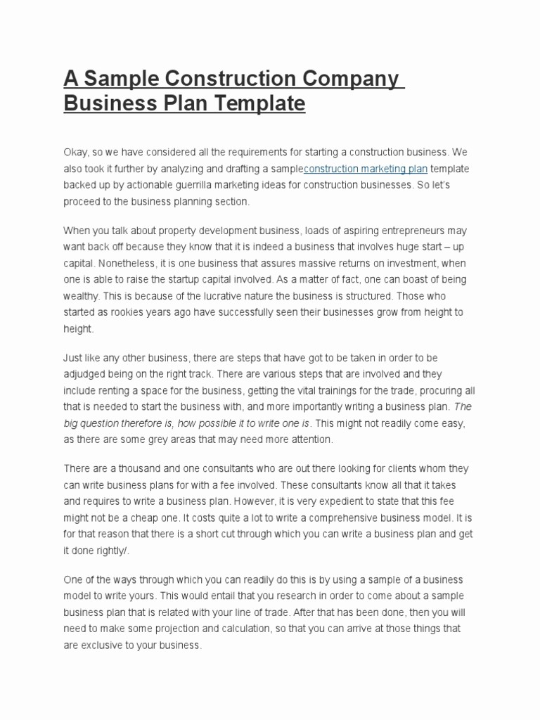 Construction Business Plan Template Word Luxury Construction Business Plan Template Free Download