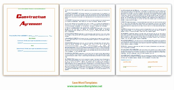 Construction Contract Template Microsoft Word Best Of Microsoft Word Templates Construction Agreement Template