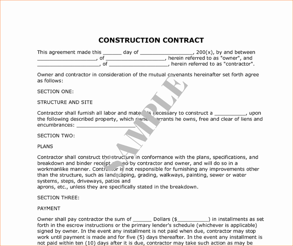 Construction Contract Template Microsoft Word Inspirational 8 Construction Contract Samplereport Template Document