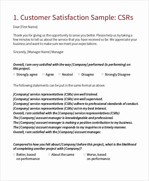 Construction Customer Satisfaction Survey Template Best Of Sample Customer Satisfaction Survey forms 10 Free