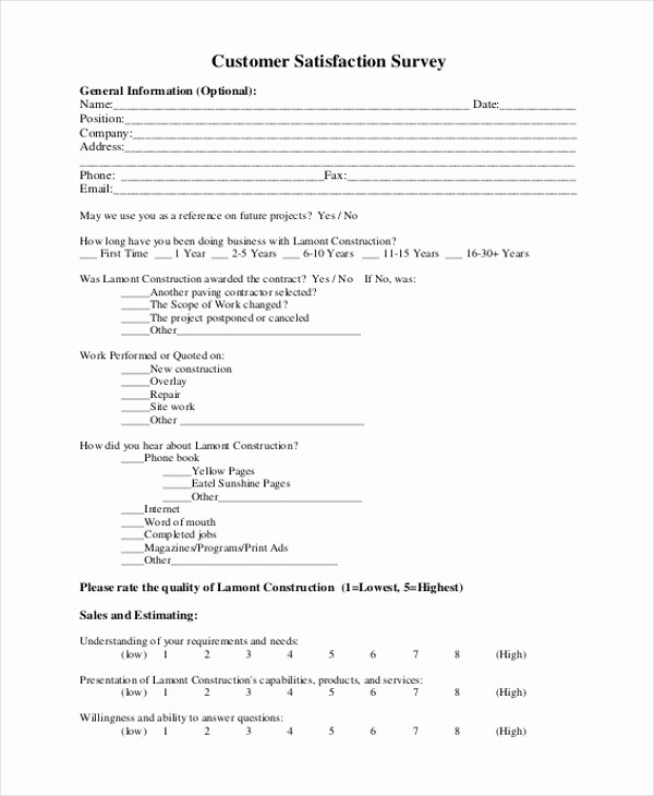 Construction Customer Satisfaction Survey Template Elegant Sample Customer Satisfaction form 6 Free Documents In Pdf