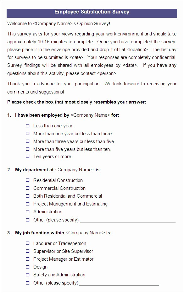 Construction Customer Satisfaction Survey Template Fresh Employee Questionnaire Template Templates Data