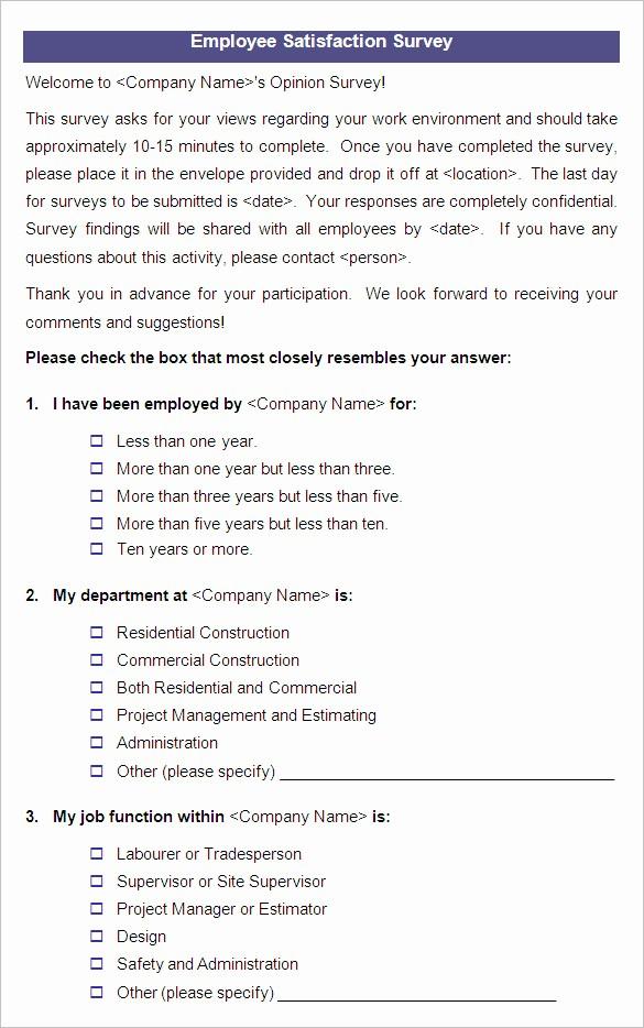 Construction Customer Satisfaction Survey Template Fresh Employee Questionnaire Template Templates Data