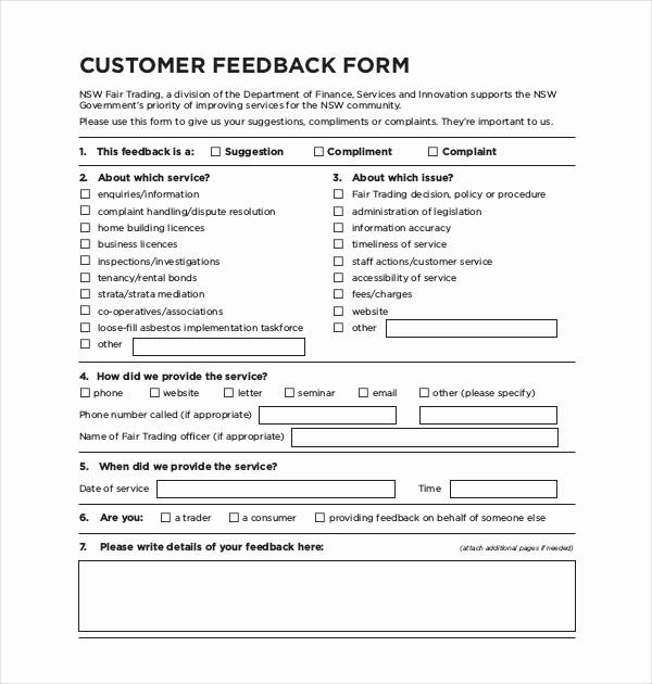 Construction Customer Satisfaction Survey Template Fresh Sample Customer Feedback form 22 Free Documents In Pdf