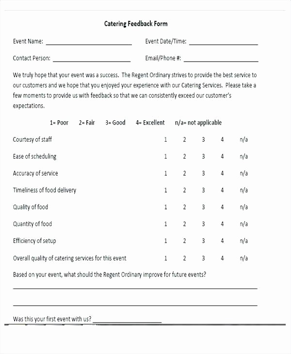 Construction Customer Satisfaction Survey Template Lovely Catering Survey Template Food Catering Quality Survey form