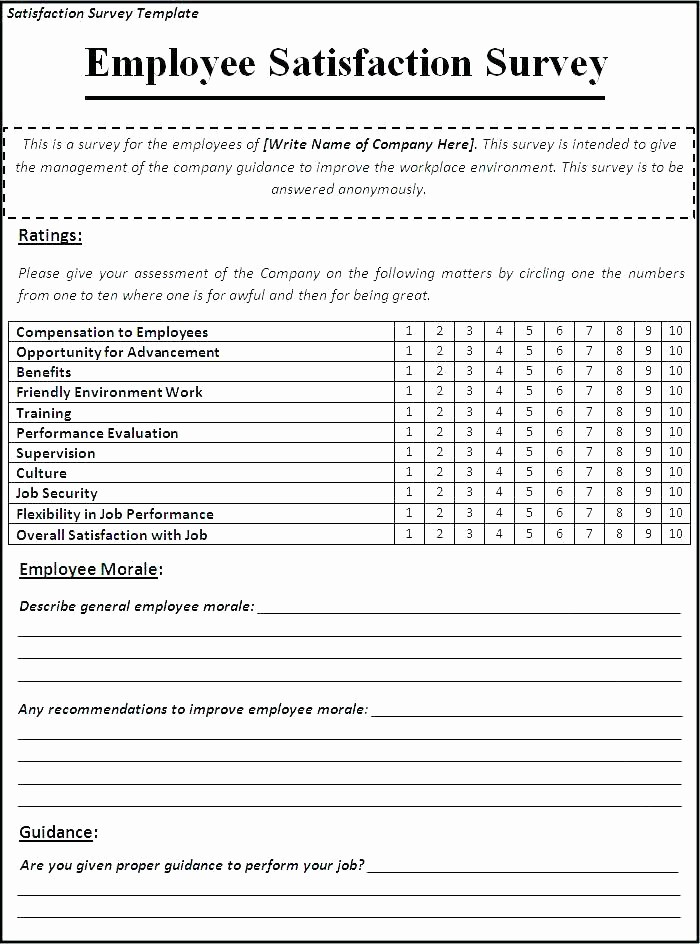 Construction Customer Satisfaction Survey Template Unique Employee Satisfaction Survey Template Customer form Sample