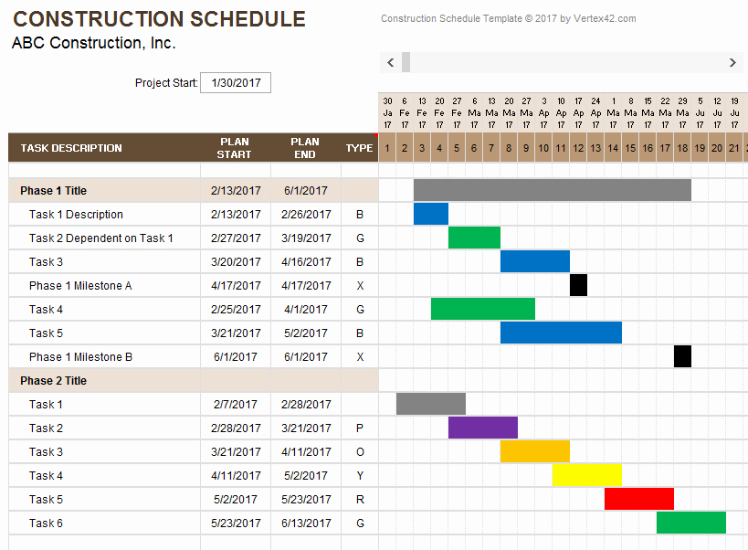 Construction Project Schedule Template Excel Luxury Construction Schedule Template