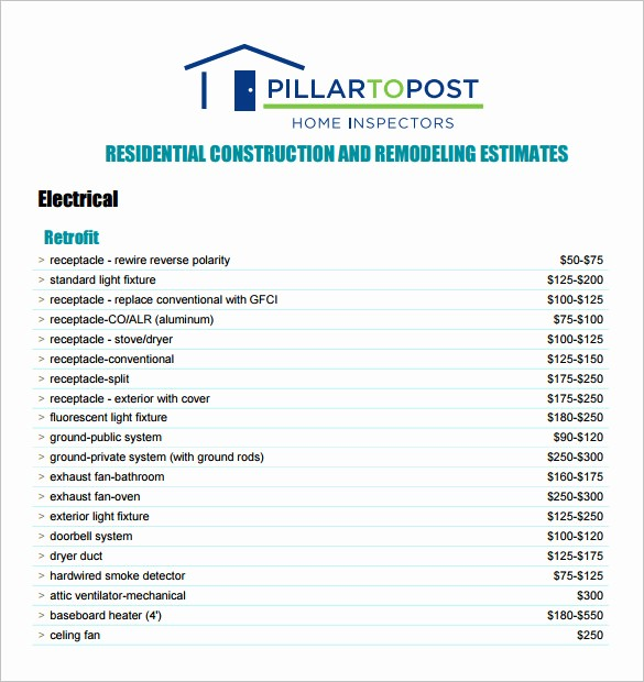 Construction Quotation format In Word Awesome 6 Contractor Estimate Templates Pdf Doc