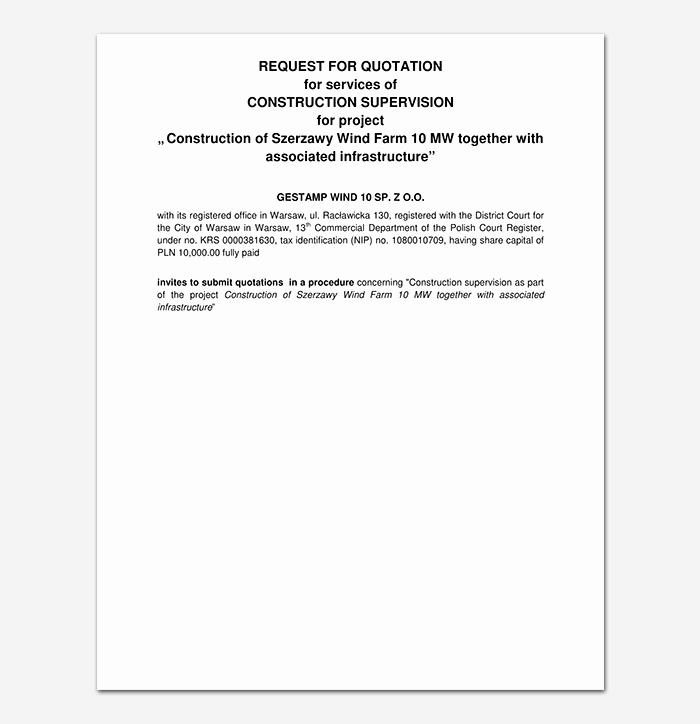 Construction Quotation format In Word Awesome Construction Quotation Template 20 for Word Excel Pdf