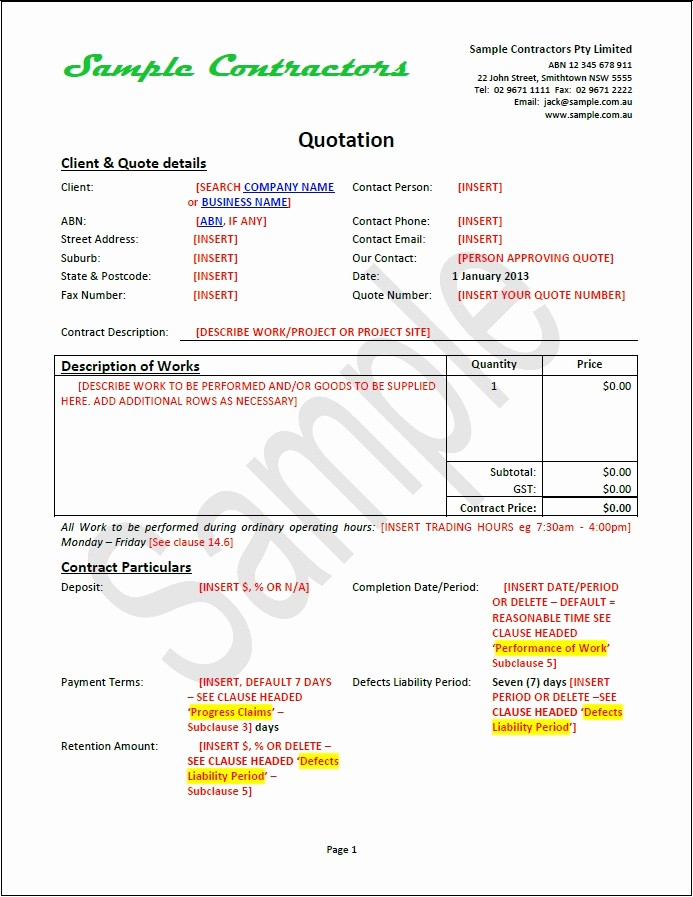 Construction Quotation format In Word Beautiful Effective Business Contract Document Package Contractors