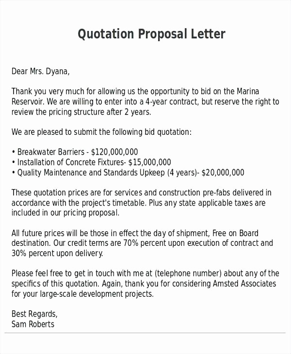 Construction Quotation format In Word Elegant Price Quotation Email Template Proposal to Buy A Business