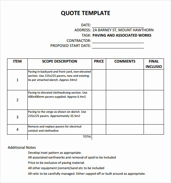 Construction Quotation format In Word Fresh 45 Quotation Templates