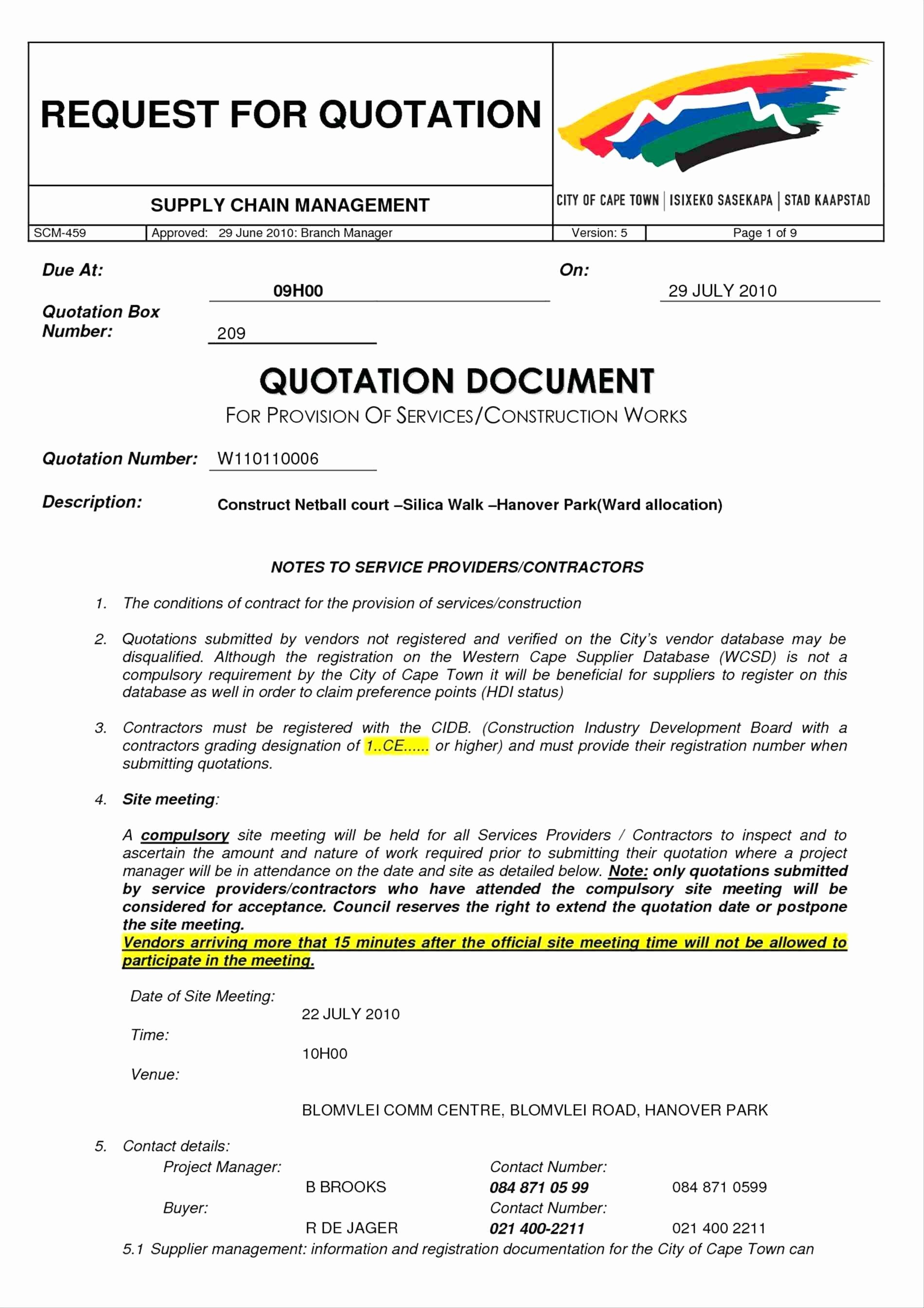 Construction Quotation format In Word Inspirational Template Request for Quote Template