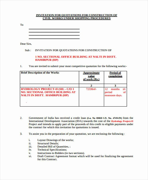Construction Quotation format In Word Luxury 9 Construction Quotations – Pdf Doc Pages