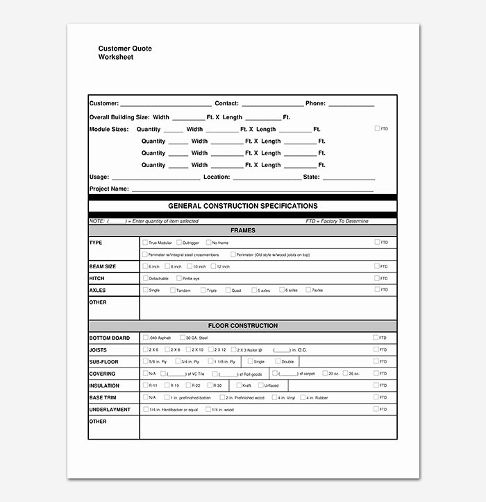 Construction Quotation format In Word Unique Construction Quotation Template 20 for Word Excel Pdf