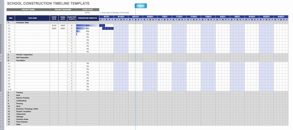 Construction Timeline Template Excel Free Beautiful Construction Timeline Template Collection
