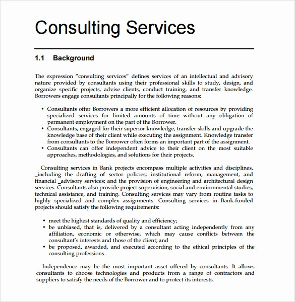 Consulting Report Template Microsoft Word Awesome Consultant Proposal Template 7 Download Documents In Pdf