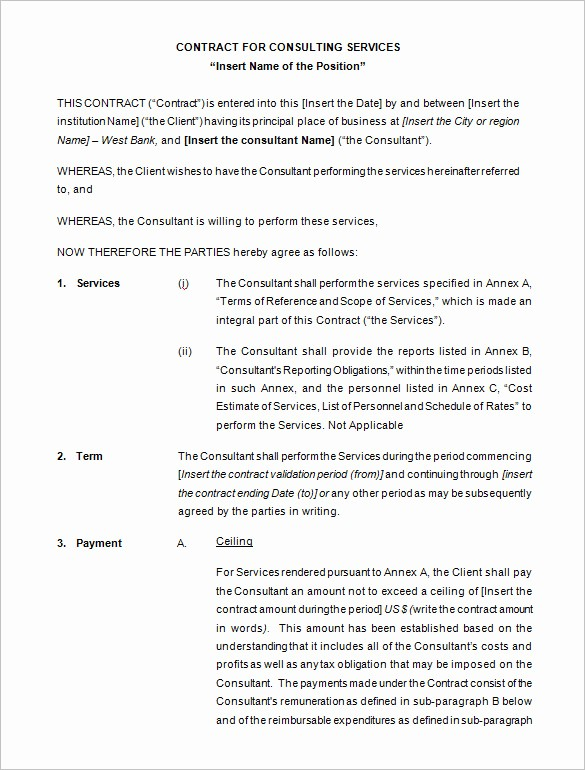 Consulting Report Template Microsoft Word Lovely 10 Consulting Contract Templates Pdf Doc