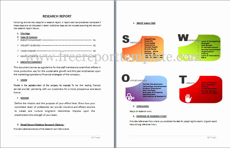 Consulting Report Template Microsoft Word Lovely Research Report Template – Free Report Templates