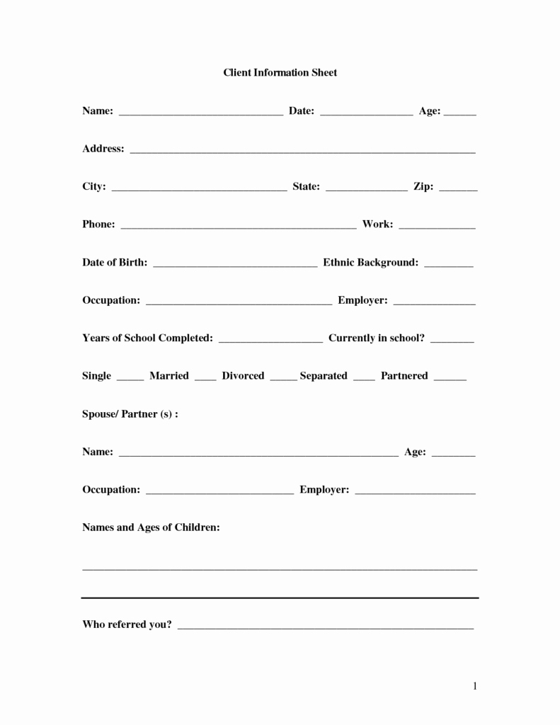 Contact Information form Template Word Awesome 8 Client Information Sheet Templates Word Excel Pdf formats