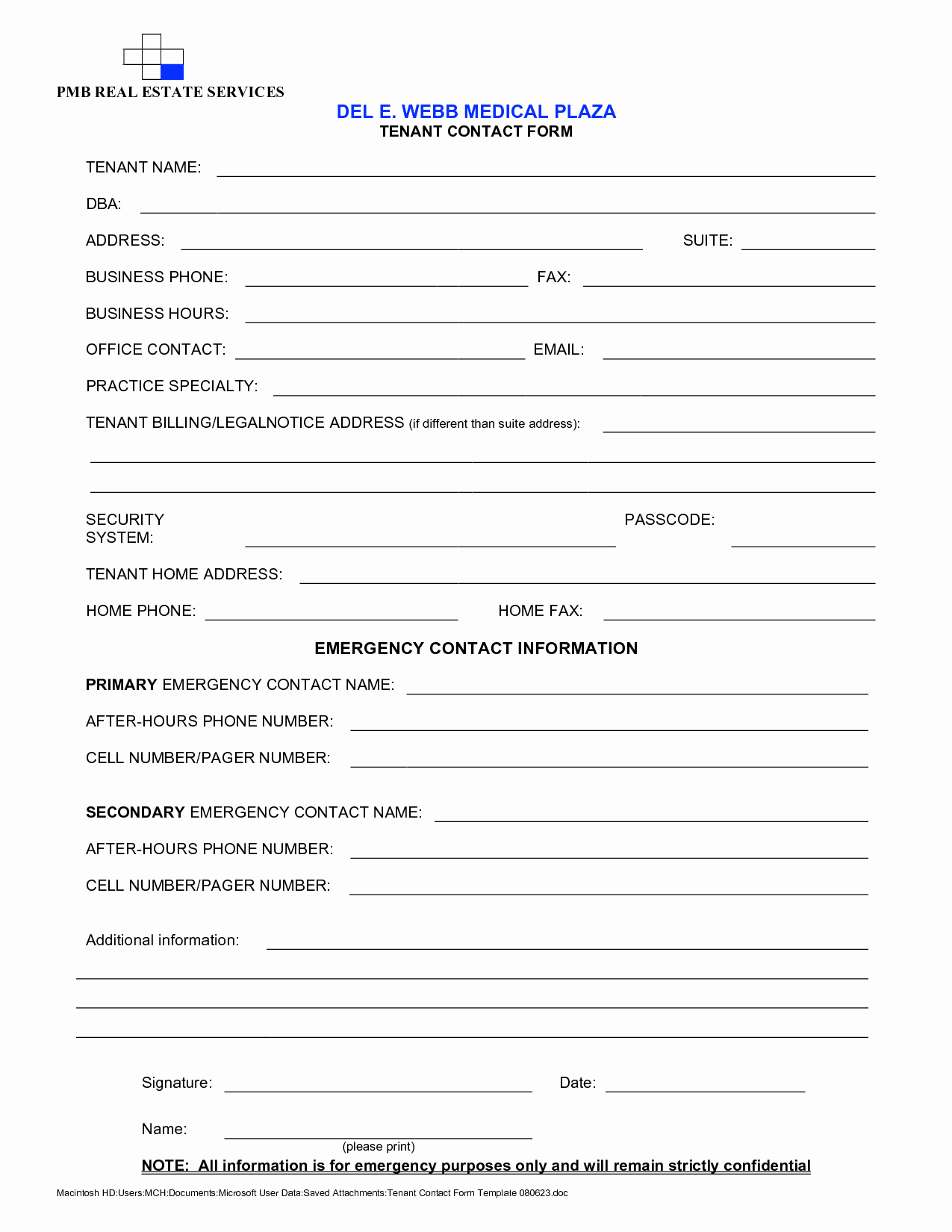 Contact Information form Template Word Awesome Best S Of Tenant Contact Information form Template