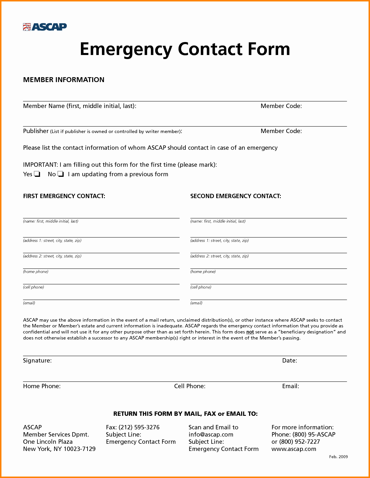 Contact Information form Template Word Awesome Employee Employee Emergency Contact form
