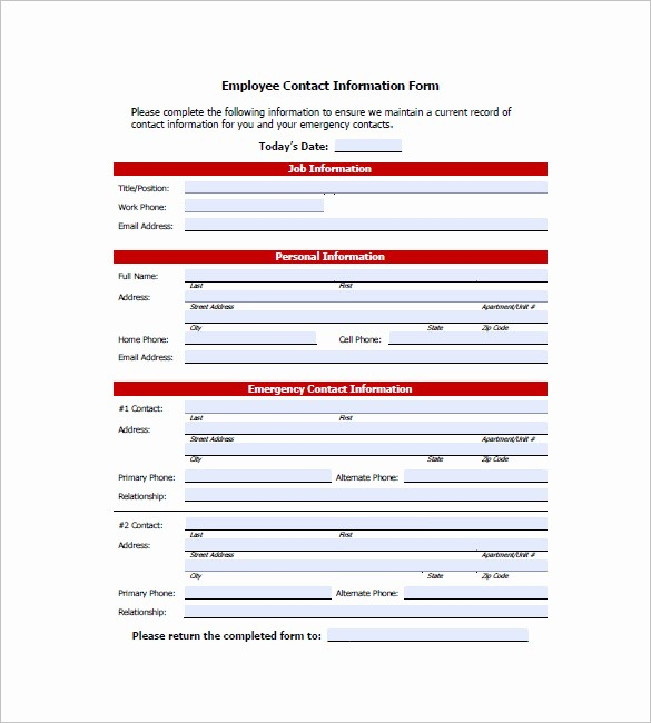 Contact Information form Template Word Elegant Contact List Template 10 Free Word Excel Pdf format