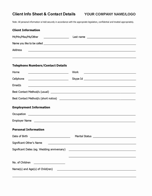 Contact Information form Template Word Fresh Client Info Sheet Template