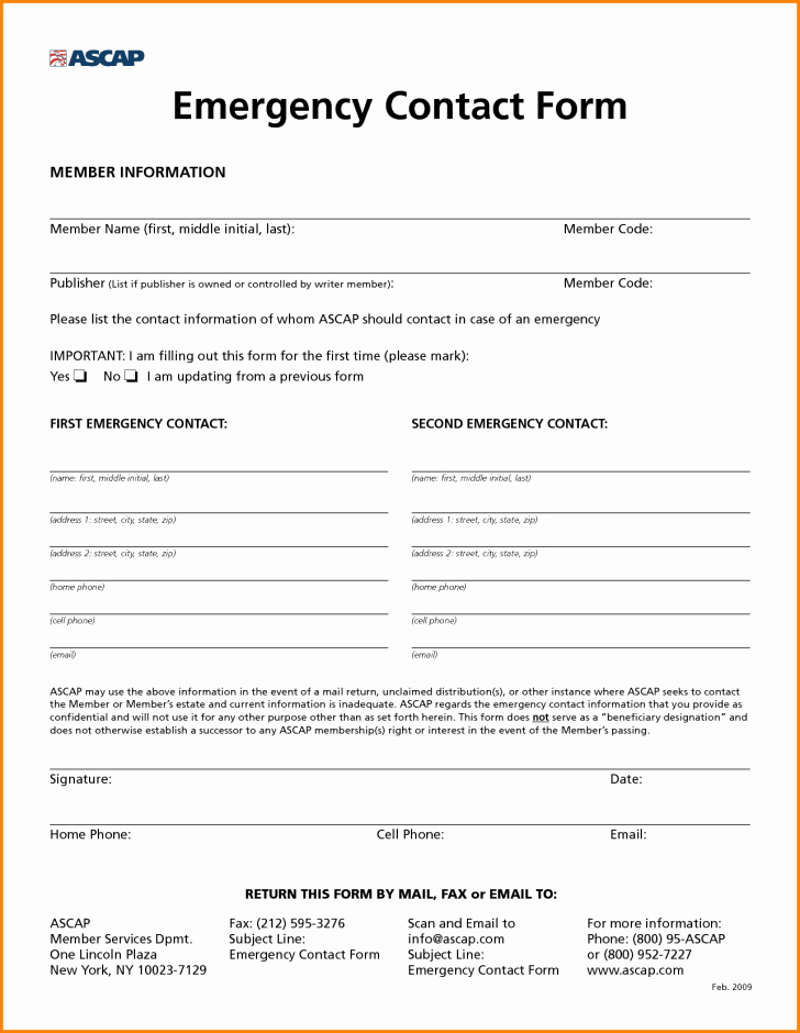 Contact Information form Template Word Fresh Employee Employee Emergency Contact form