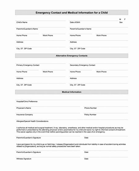 Contact Information form Template Word Inspirational Best S Of Medical Fice forms Templates Free