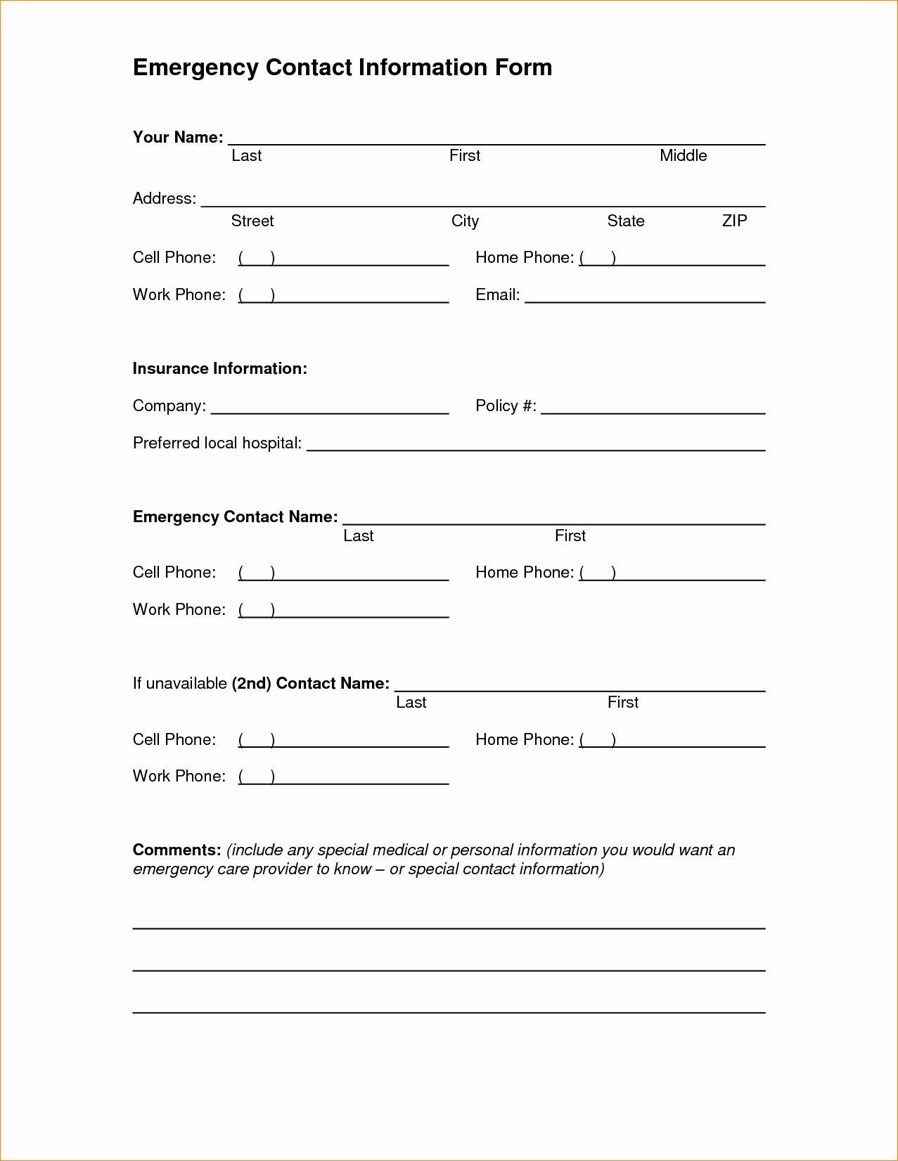 Contact Information form Template Word Inspirational Contact Information Template Word Portablegasgrillweber