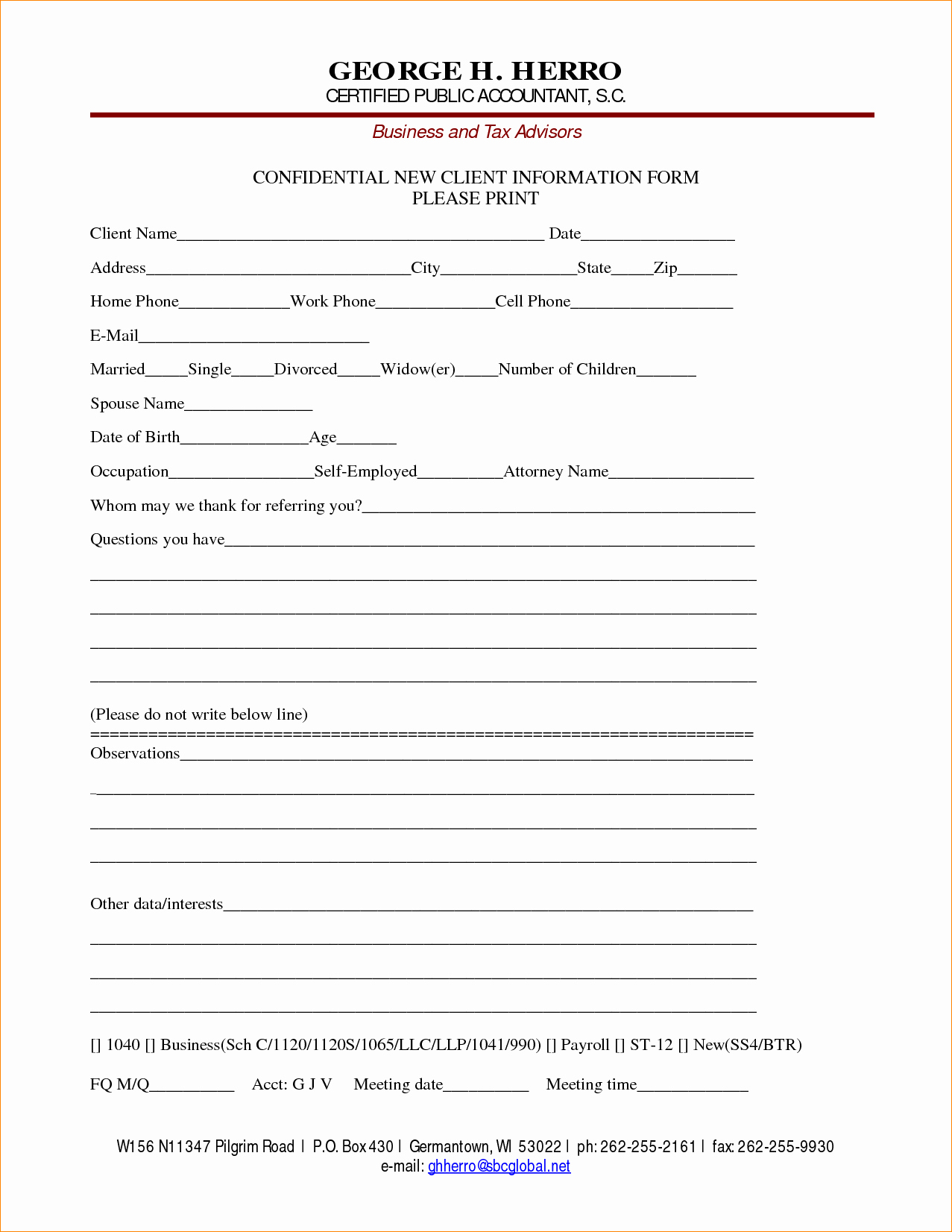 Contact Information form Template Word Inspirational New Customer form Template Word Portablegasgrillweber
