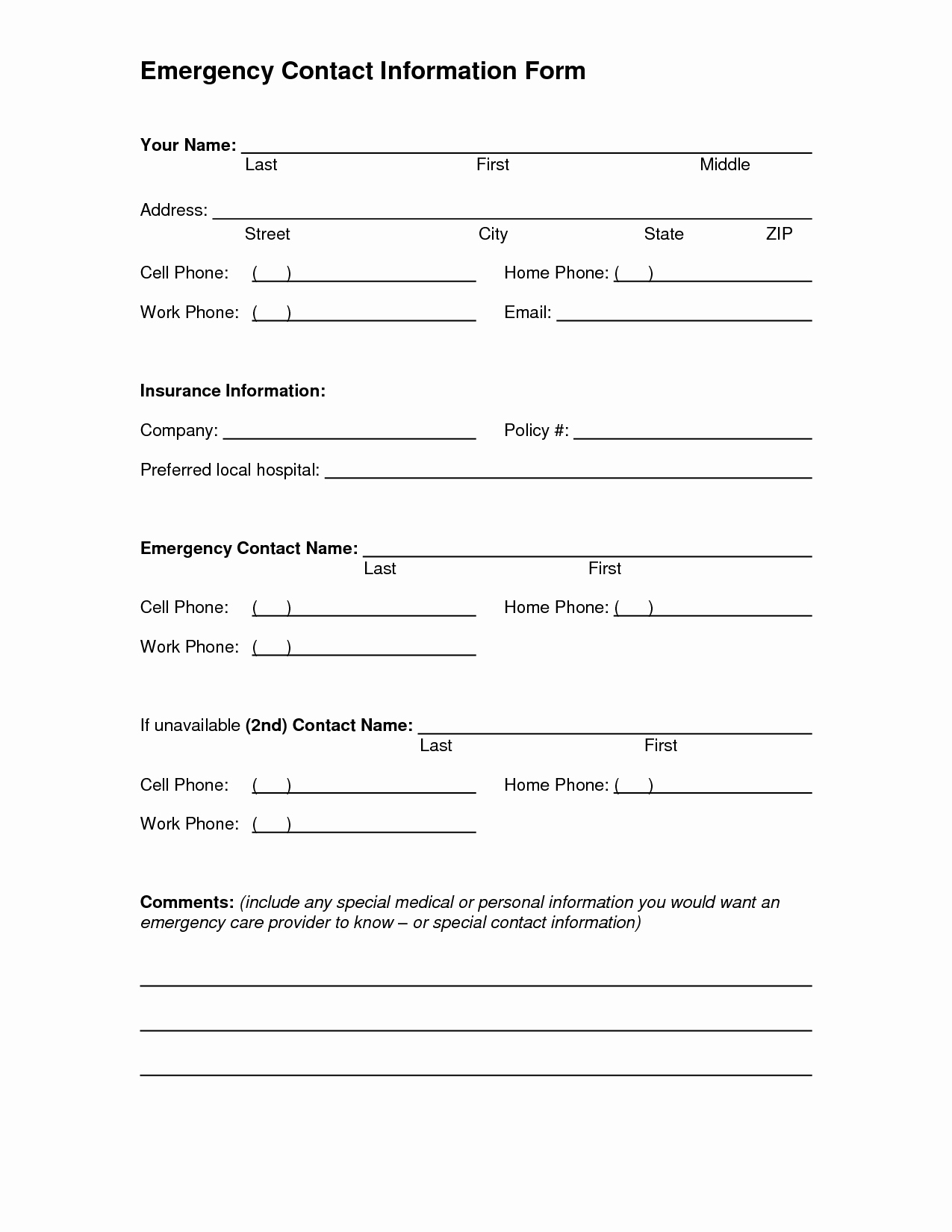Contact Information form Template Word Lovely 5 Best Of Printable Emergency Contact form Template